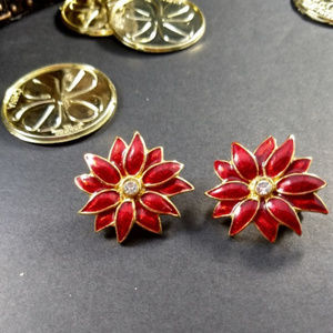 Host Pick! Red Enamel Poinsettia Clip Earrings